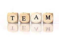 Объединяйтесь в команду сказанное по буквам слово, письма кости с отражением Стоковое Фото