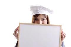 объявление за детенышами женщины кашевара доски пряча Стоковое фото RF
