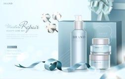 Объявления голубого подарка заботы кожи установленные бесплатная иллюстрация