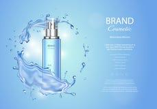 Объявления тонера льда с выплеском открытого моря Прозрачная бутылка брызга, вода падает, реалистические объявления продукта косм иллюстрация вектора