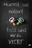 Объявление младенца для близнецов с немецким текстом & Pacifier 2 стоковая фотография rf