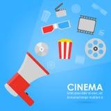 Объявление фильма Билеты, попкорн, лента фильма Стоковые Изображения