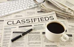 Объявления Classifieds на газете Стоковые Изображения