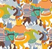 Объятие pets друзья картины собак и кошек задние безшовные Стоковые Изображения