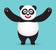 Объятия гигантской панды Характер вектора на голубой предпосылке Стоковое Фото