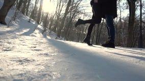 Объятия пар влюбленности в парке зимы акции видеоматериалы