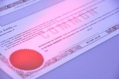 обыкновенная акция сертификата Стоковые Изображения RF