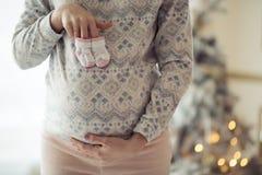 добычи младенца держа беременную женщину стоковое изображение