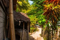 Обычный местный сельский дом в острове Apo, Филиппинах Стоковая Фотография