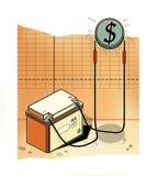 Обязанности автомобильного аккумулятора монетка со знаком доллара Фондовые индексы иллюстрация вектора