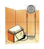 Обязанности автомобильного аккумулятора монетка со знаком рубля России Фондовые индексы иллюстрация штока