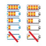 Обязанность батареи показывая комплект этапов Стоковые Фотографии RF