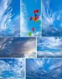 Облака, воздушные шары и горы. Стоковая Фотография