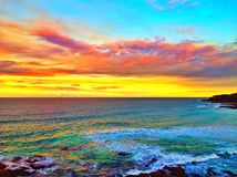 Облака захода солнца над океаном Стоковые Изображения RF