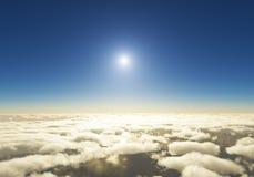 Облака и заход солнца на горизонте Стоковое фото RF
