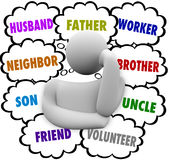 Облака мысли мыслителя работник отца супруга много ролей Стоковые Фотографии RF