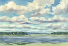 Облака над акварелью озера Стоковые Изображения RF