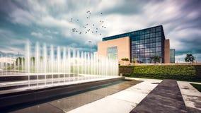 Облака над национальной библиотекой в Загребе Стоковые Изображения