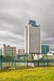 Облака над управлением башни Газпрома в Москве Стоковое Изображение RF