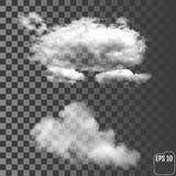 Облака Реалистическое прозрачное различное облако иллюстрация вектора