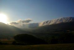 Облака свертывая внутри, ландшафты северной Испании Стоковое Изображение RF