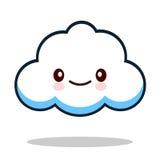Облако белого смайлика шаржа Kawaii милое Стоковые Изображения RF