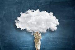 Облако возглавило женщину Мультимедиа стоковое фото