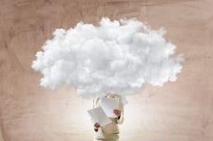 Облако возглавило женщину Мультимедиа стоковое фото rf