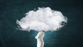 Облако возглавило женщину Мультимедиа Стоковые Фото