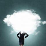 Облако возглавило женщину стоковое изображение rf