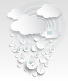 Облако вычисляя с значком в падениях дождя Стоковое Изображение