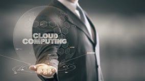 Облако вычисляя с концепцией бизнесмена hologram бесплатная иллюстрация