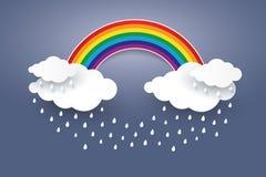 Облако и радуга в стиле искусства бумаги голубого неба Сезон дождей conc Стоковая Фотография