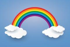 Облако и радуга в стиле искусства бумаги голубого неба Illusatra Стоковое Изображение