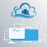 Облако компьютера с силуэтами интернета Стоковое Фото
