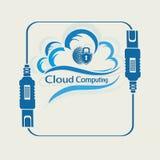 Облако компьютера с силуэтом глобуса и замка Стоковое Изображение RF