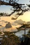Облако моря вахты обезьяны, Mt Huangshan в Аньхое, Китае Стоковые Фотографии RF