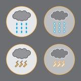 Облако с значками дождевой воды и грозы Стоковое Изображение