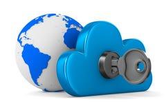 Облако с ключом на белой предпосылке Стоковая Фотография
