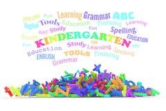 Облако слова детского сада, стог алфавитов иллюстрация штока