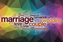 Облако слова замужества с абстрактной предпосылкой иллюстрация штока