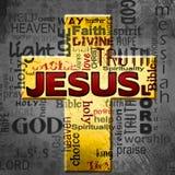 Облако слова Иисуса, предпосылка grunge пасхи Стоковые Фотографии RF