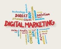 Облако слова маркетинга цифров в цветах Стоковые Фотографии RF