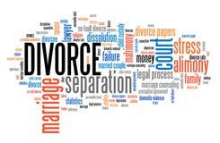 Облако слова развода Стоковая Фотография