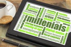 Облако слова Millenials на таблетке Стоковая Фотография