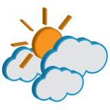 Облако с солнечным прогнозом погоды. Стоковые Изображения