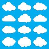 Облако формирует собрание Комплект плоских значков облака Стоковые Изображения
