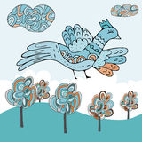 Облако шаржа и картина птиц Стоковые Изображения RF