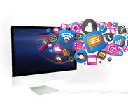 Облако icone технологии идя вне компьютер Стоковые Фото