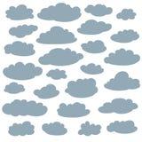 Облако silhouettes собрание Комплект облаков шаржа вектора милых простых формирует Стоковое Фото